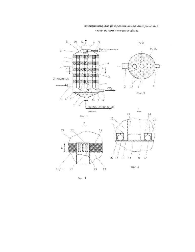 Классификатор для разделения очищенных дымовых газов на азот и углекислый газ