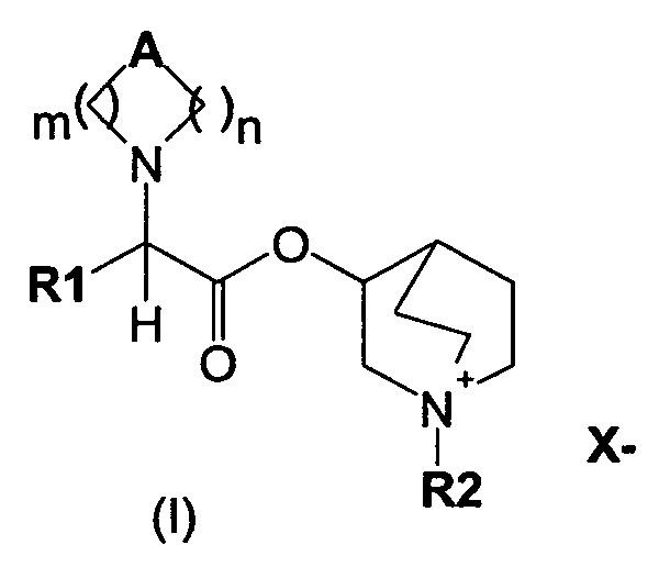 Хинуклидиновые эфиры 1-азагетероциклилуксусной кислоты в качестве антимускариновых средств, способ их получения и их лекарственные композиции