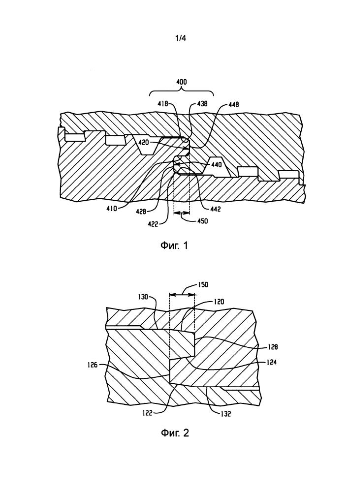 Уплотнение в виде центрального выступа для трубного соединения
