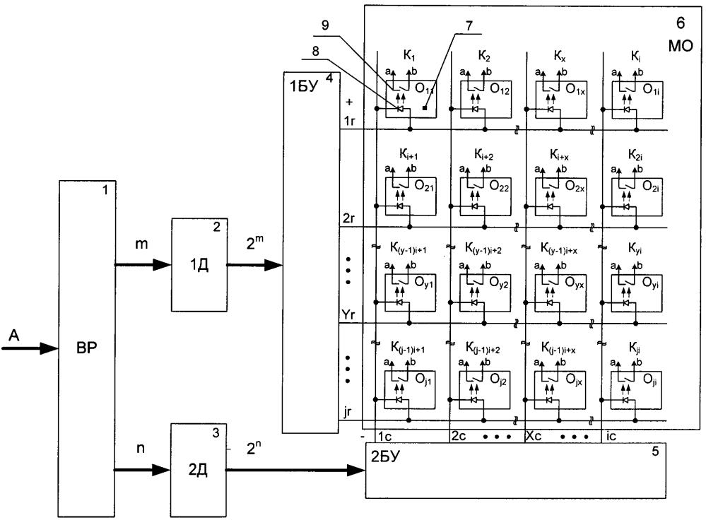 Матричное устройство выдачи команд с оптической развязкой