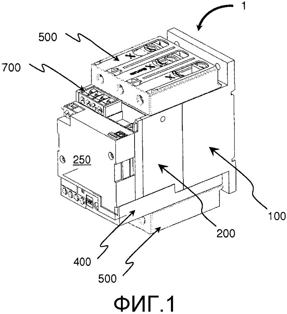 Модульное устройство для электрической коммутации, содержащее по меньшей мере один однополюсный блок размыкания, и узел коммутации, содержащий такие устройства