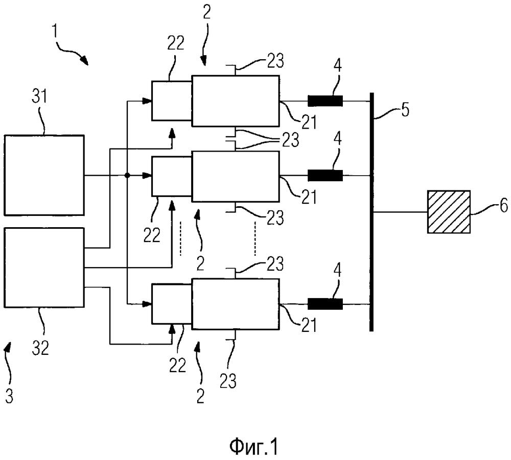 Преобразовательный узел с параллельно включенными многоступенчатыми полупроводниковыми преобразователями, а также способ управления им