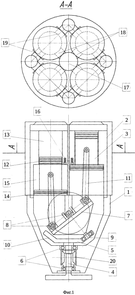 Аксиальный поршневой двигатель внутреннего сгорания с качающимся блоком карданных подвесов