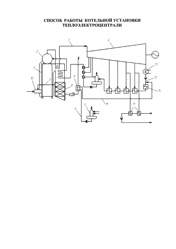 Способ работы котельной установки теплоэлектроцентрали