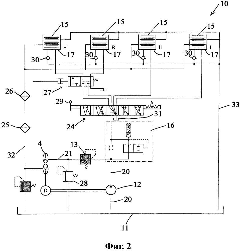 Аккумулятор, гидравлическая система управления и машина с аккумулятором, а также способ переключения передач