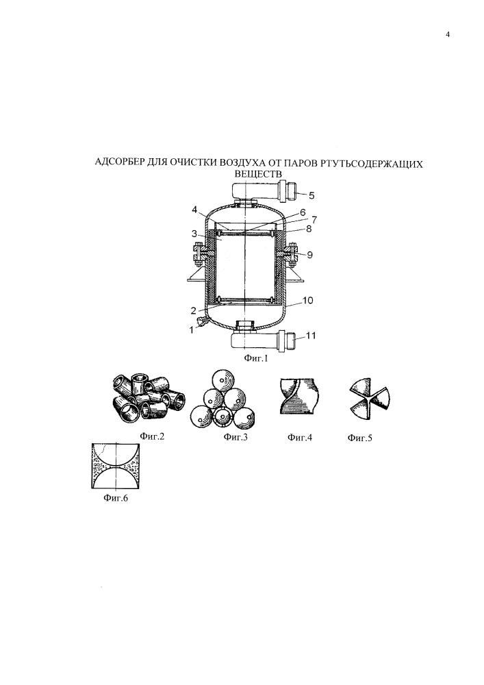 Адсорбер для очистки воздуха от паров ртутьсодержащих веществ