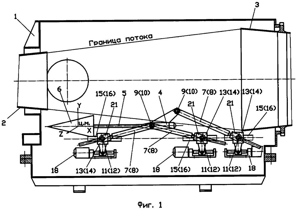 Устройство для изменения положения модели в рабочей части аэродинамической трубы
