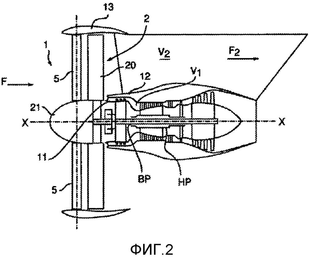 Турбомашина, содержащая множество неподвижных радиальных лопаток, закрепленных выше по потоку от вентилятора
