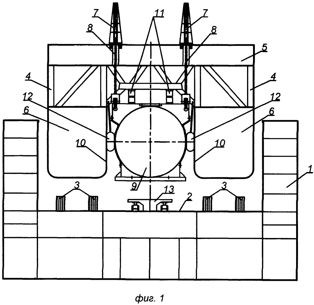 Устройство погрузки, транспортировки и установки на морское дно тяжеловесного и крупногабаритного морского подводного объекта