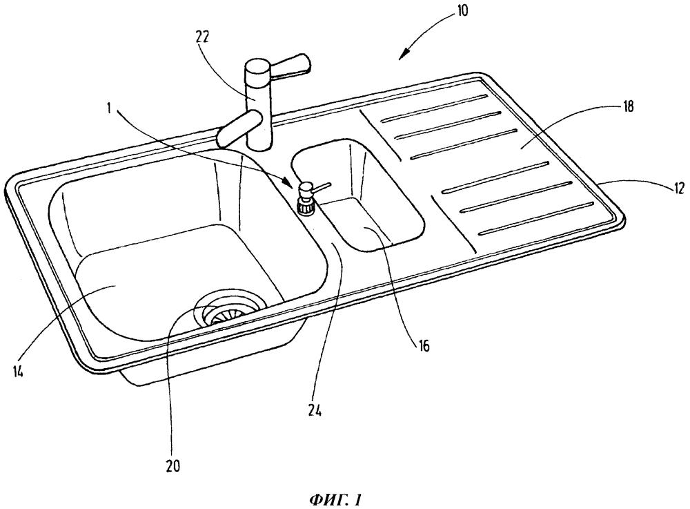 Дозатор мыла, предназначенный для встраивания в кухонную мойку или подобное устройство, и кухонная мойка с таким дозатором