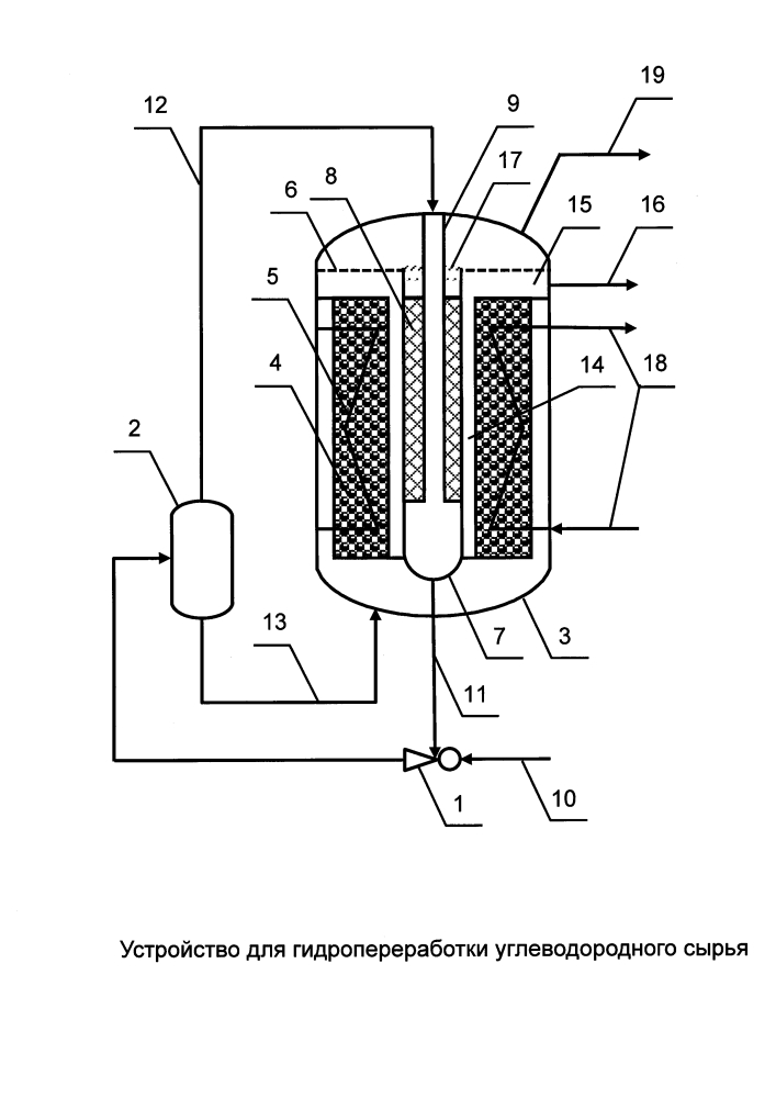 Устройство для гидропереработки углеводородного сырья