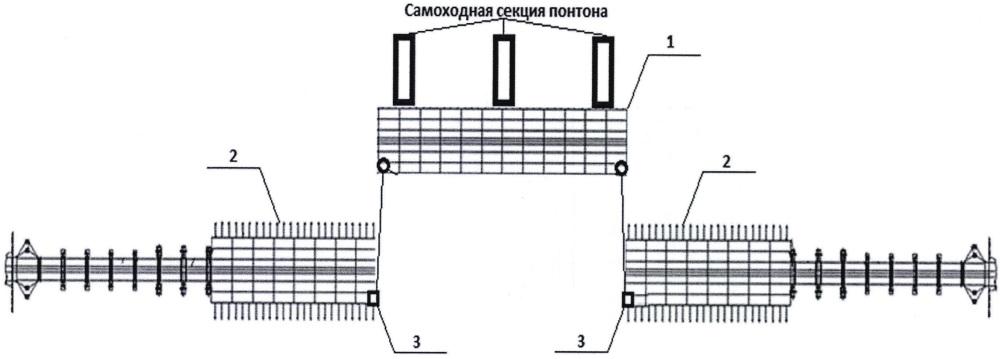 Способ установки выводного парома в линию моста из табельного имущества наплавного железнодорожного моста (нжм-56)