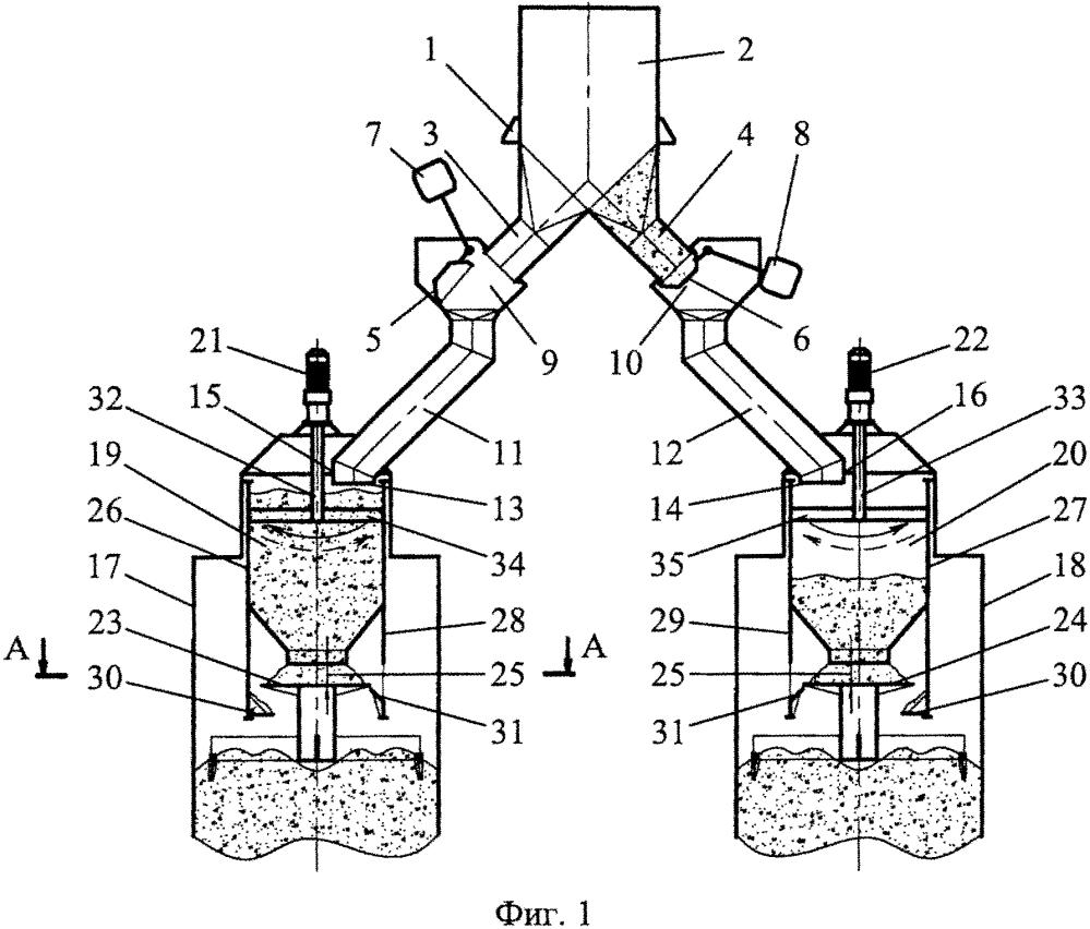 Загрузочно-распределительное устройство прямоточно-противоточной регенеративной печи с круглыми шахтами для обжига кускового карбонатного материала