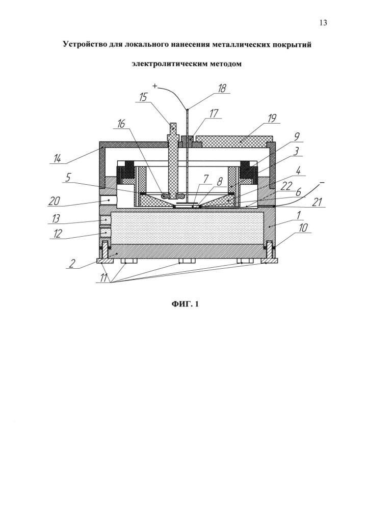 Устройство для локального нанесения металлических покрытий электролитическим методом