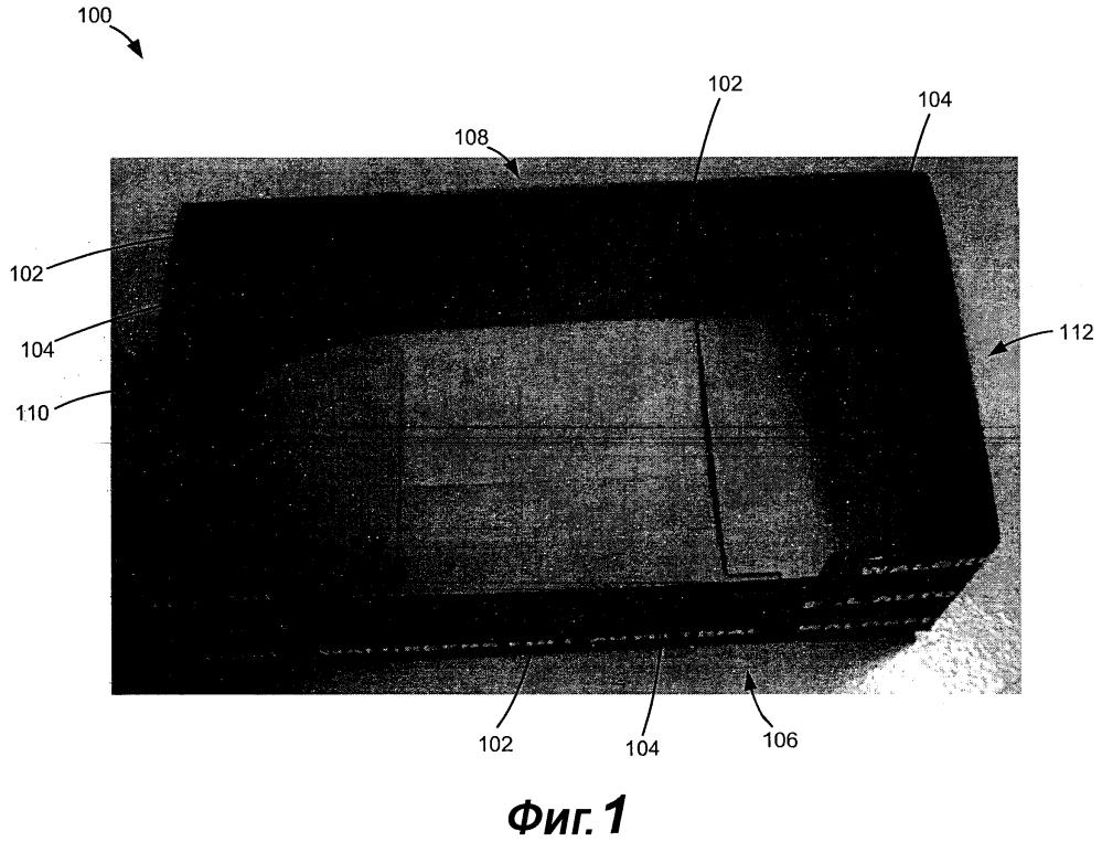 Предварительно собранная открытая коробка с автоматически формируемыми опорами для штабелирования