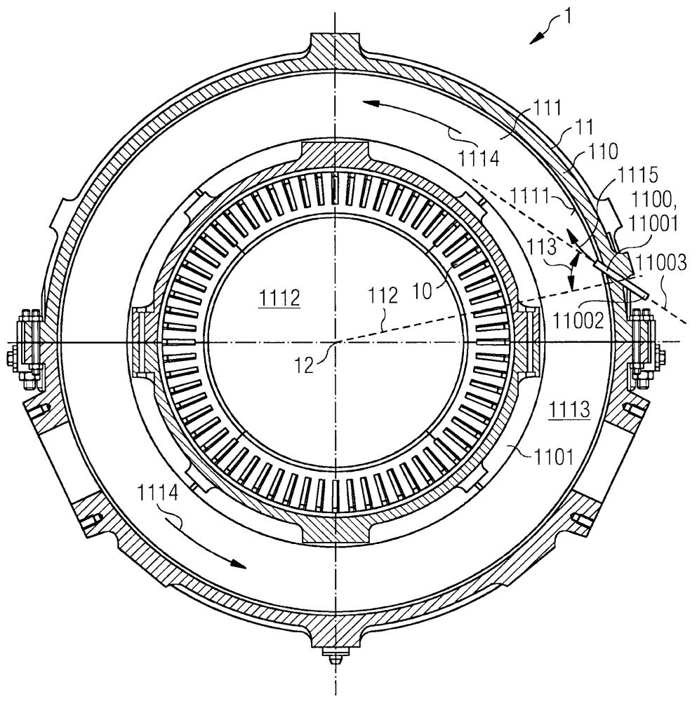 Газовая турбина, содержащая корпус компрессора с впускным отверстием для охлаждения корпуса компрессора, и использование указанной газовой турбины