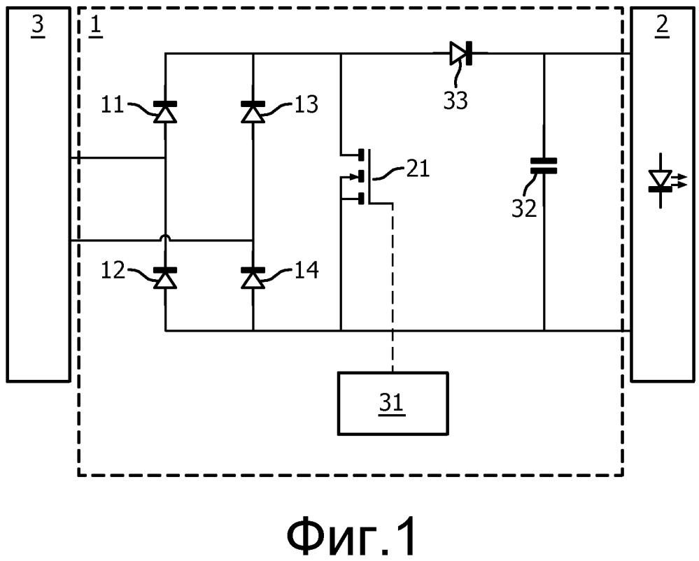 Задающая схема между флуоресцентным балластом и сид