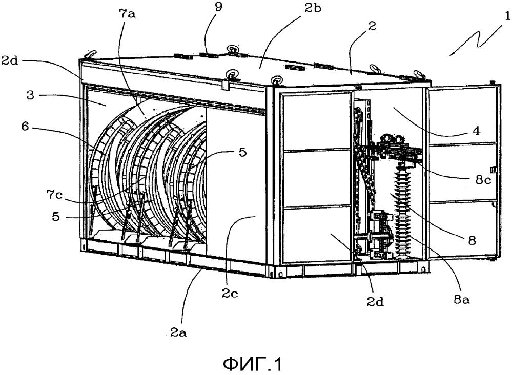 Контейнерный обходной модуль для линий электропередачи