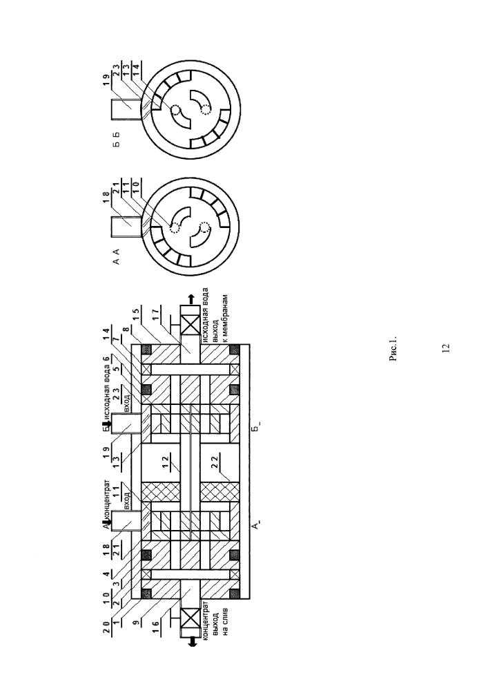 Устройство рекуперации энергии концентрата в обратноосмотических установках