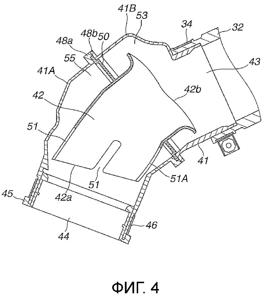 Структура канала для всасывания воздуха для двигателя внутреннего сгорания