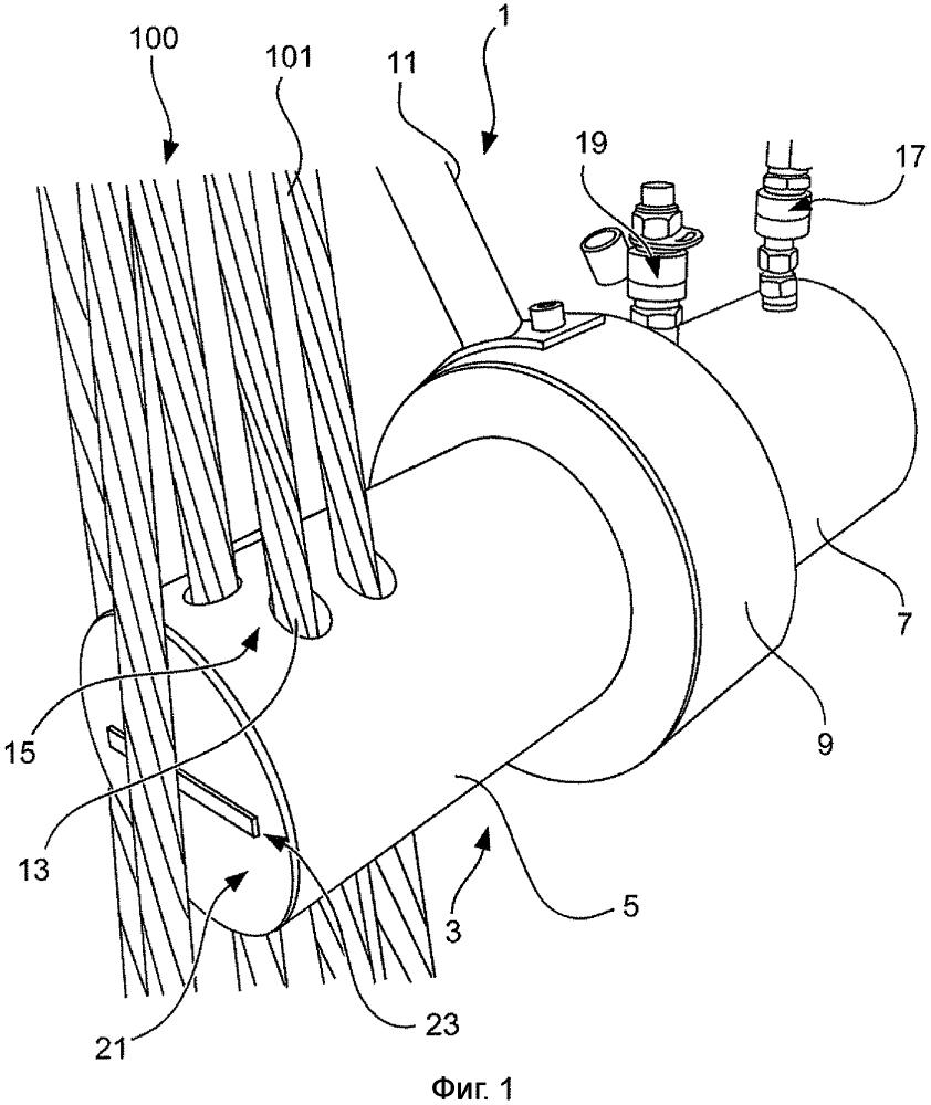 Устройство для обрезания натяжных проволочных прядей