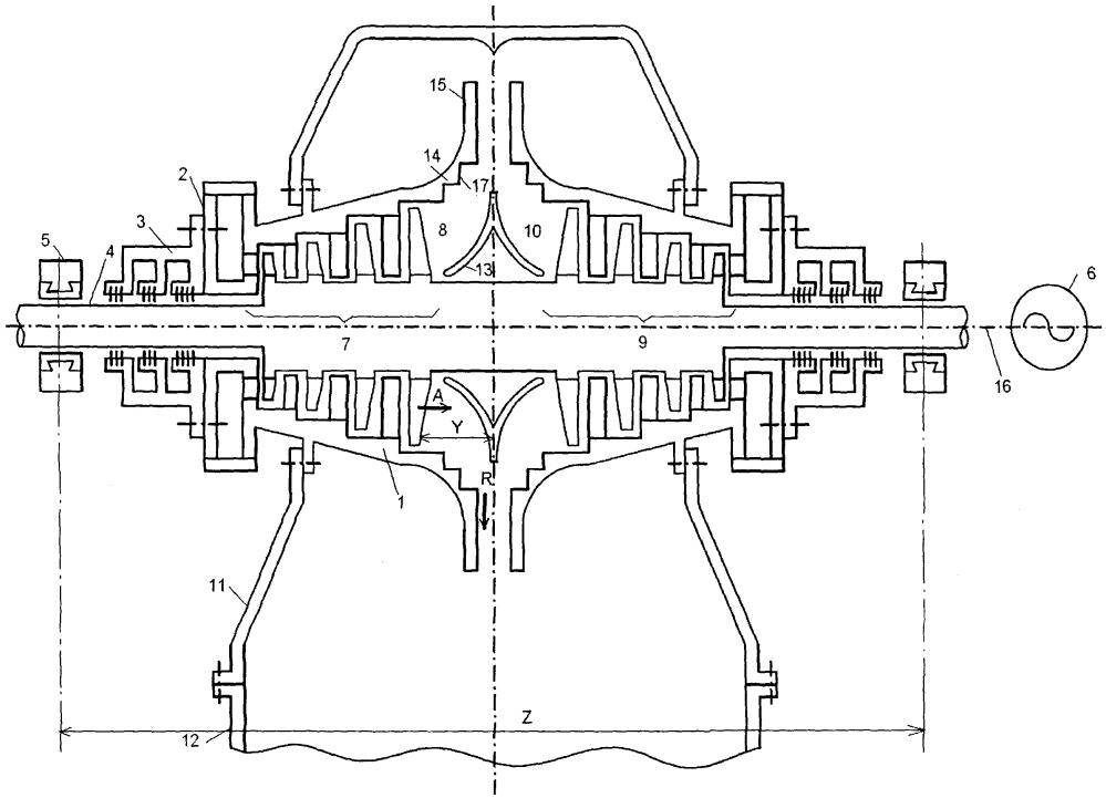 Двухпоточный цилиндр низкого давления паровой турбины