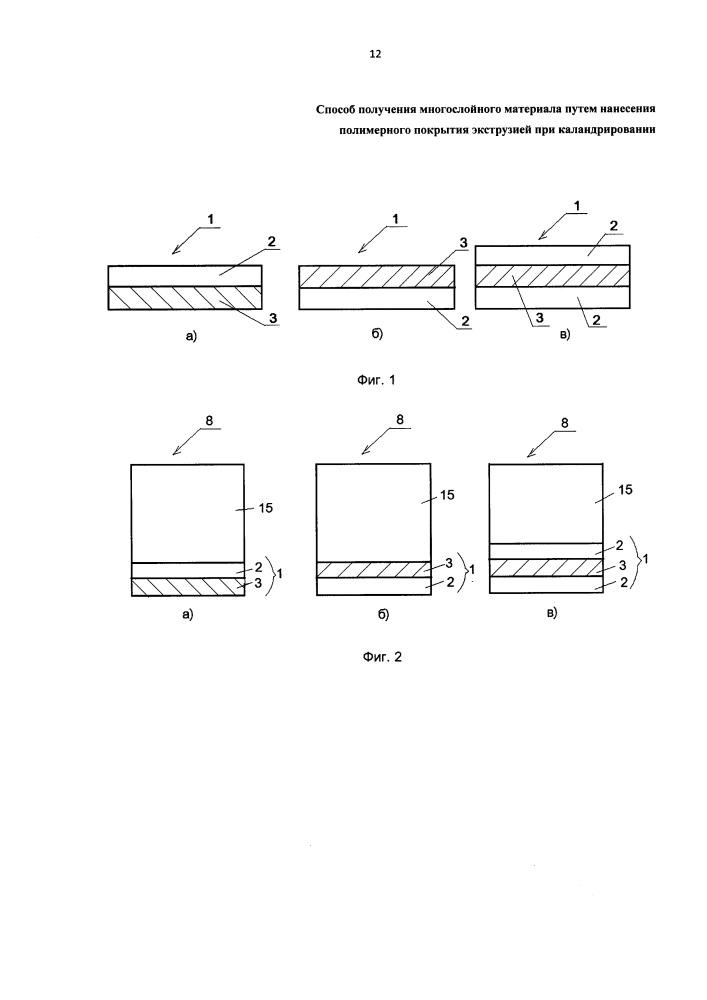 Способ получения многослойного материала путем нанесения полимерного покрытия экструзией при каландрировании