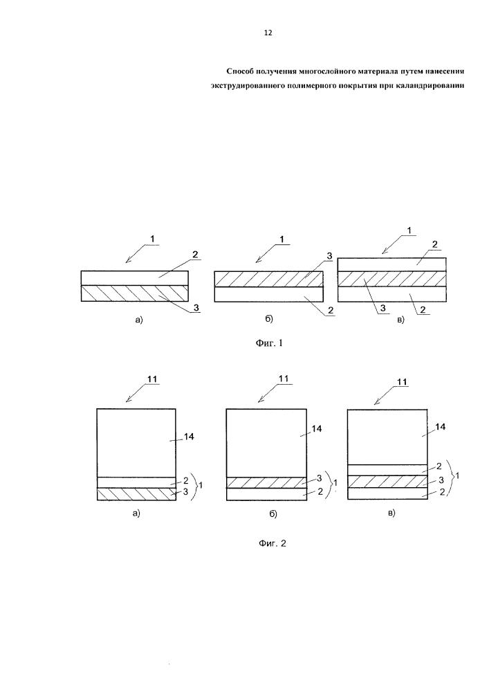Способ получения многослойного материала путем нанесения экструдированного полимерного покрытия при каландрировании