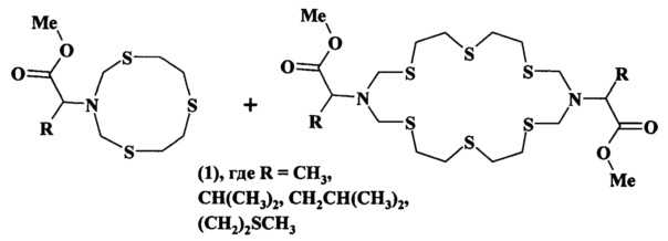 Способ совместного получения метил 2-(1, 5, 8-тритиа-3-азациклодекан-3-ил)алканоатов и диметил 2, 2-(1, 5, 8, 11, 15, 18-гексатиа-3, 13-диазациклоикозан-3, 13-диил)диалканоатов