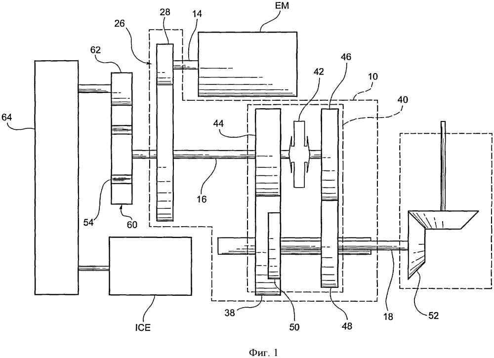Гибридная движительная установка для транспортного средства и трансмиссия для указанной движительной установки