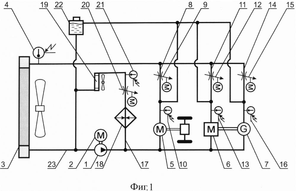 Устройство жидкостного охлаждения агрегатов электромобиля