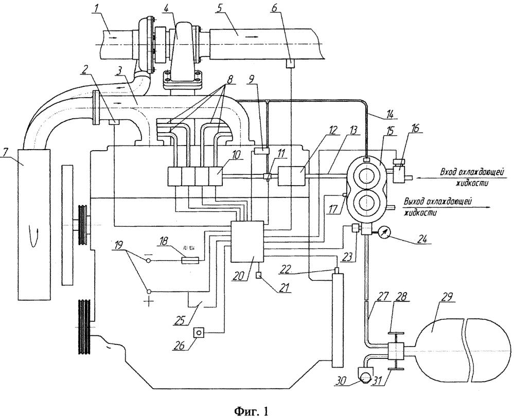 Электронная система подачи газового топлива в дизель с наддувом и охлаждением наддувочного воздуха