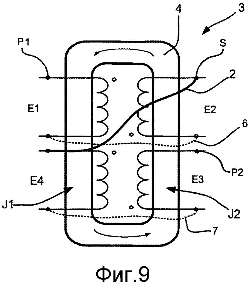 Силовое катушечное устройство, содержащее обмотку первой катушки и обмотку второй катушки, охватывающие один и тот же участок ножки магнитного сердечника