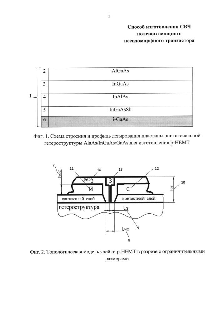 Способ изготовления свч полевого мощного псевдоморфного транзистора