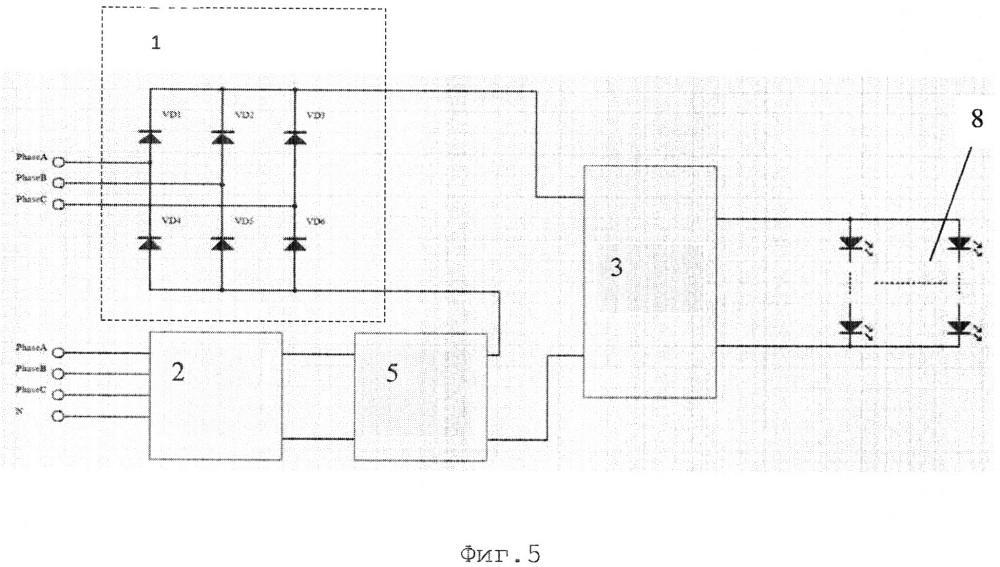 Источник питания от многофазной сети переменного тока с коррекцией гармонических колебаний