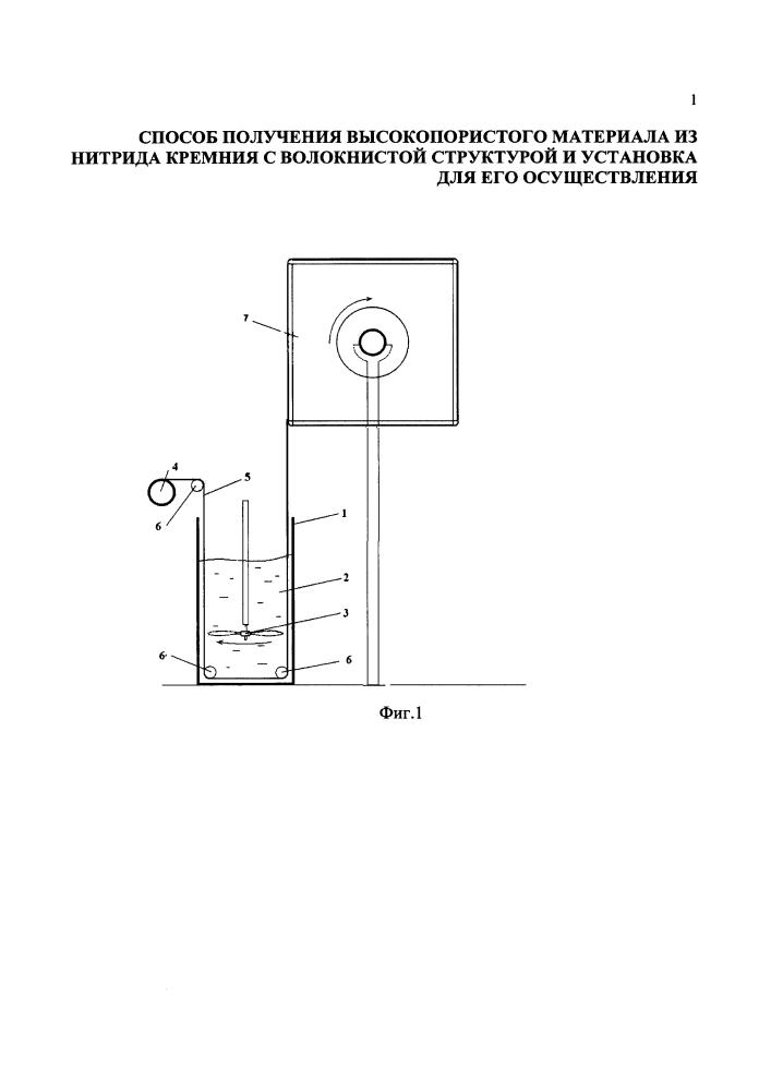 Способ получения высокопористого материала из нитрида кремния с волокнистой структурой и установка для его осуществления