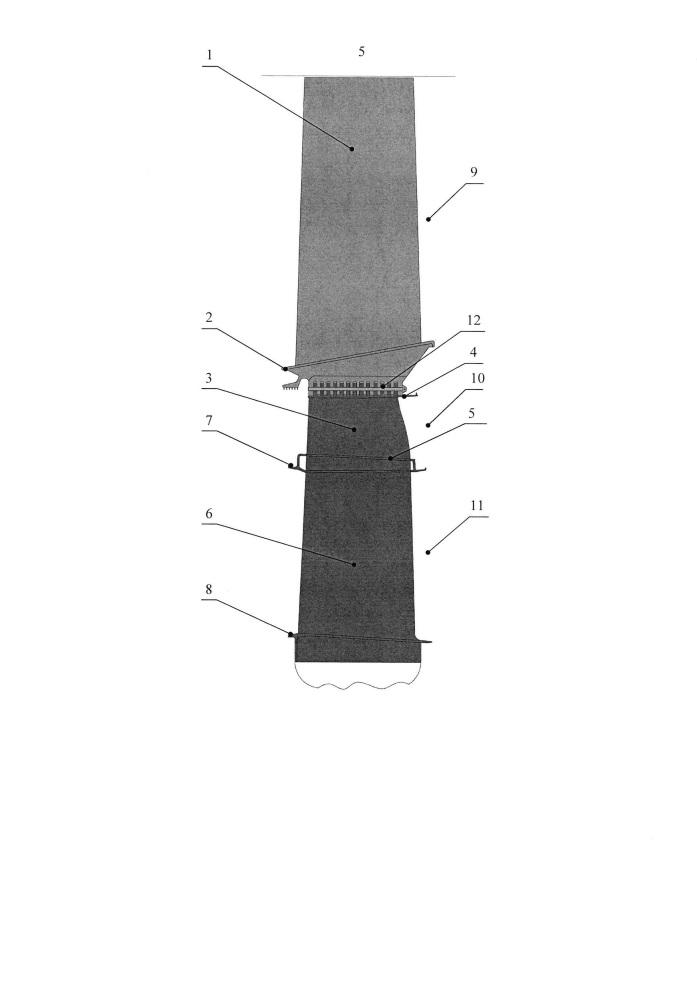 Трехъярусная рабочая лопатка турбовентилятора