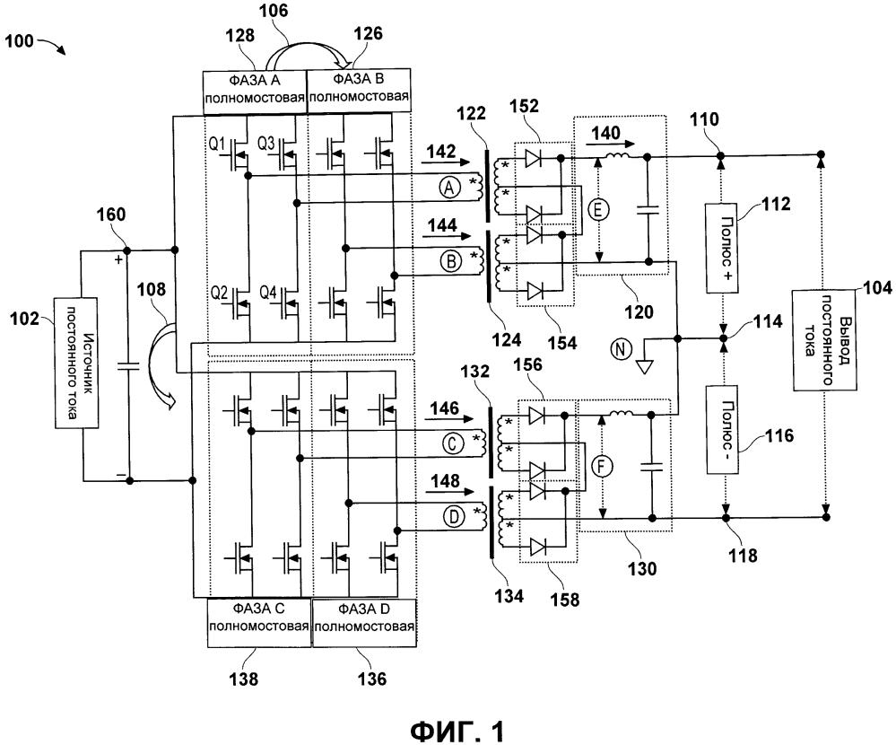 Система и способ для мощного преобразователя постоянного тока в постоянный ток
