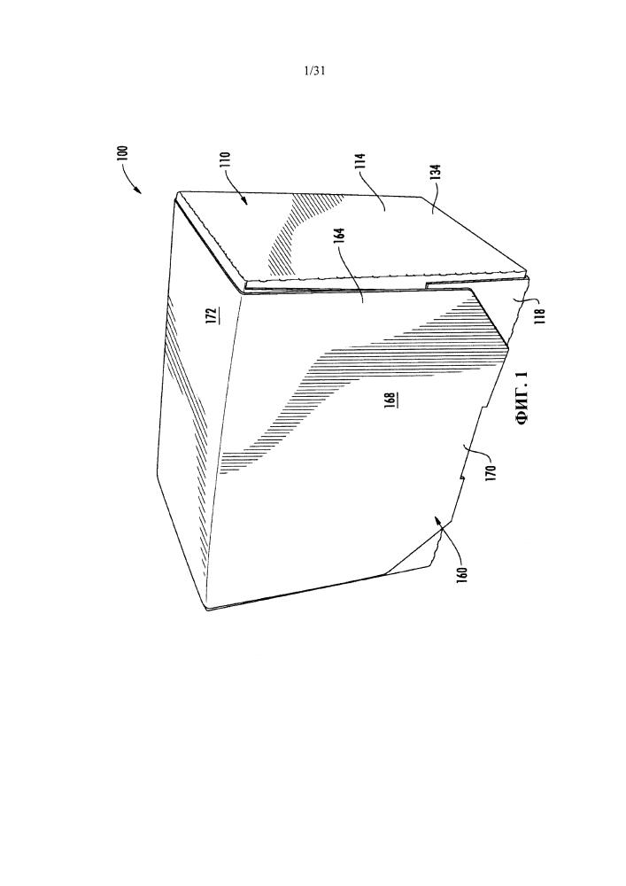 Трансформируемая коробка с развертываемыми вентиляционными панелями для транспортировки и демонстрации пищевых продуктов