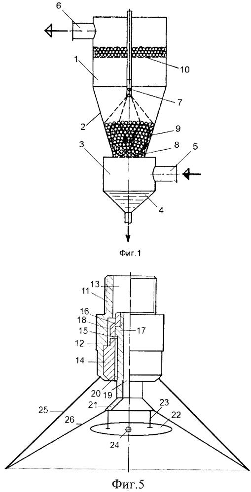 Конический форсуночный скруббер с подвижной насадкой