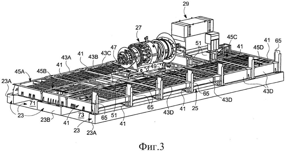 Транспортабельный газотурбинный модуль, наземная газотурбинная установка с транспортабельным газотурбинным модулем и способ сборки такой газотурбинной установки