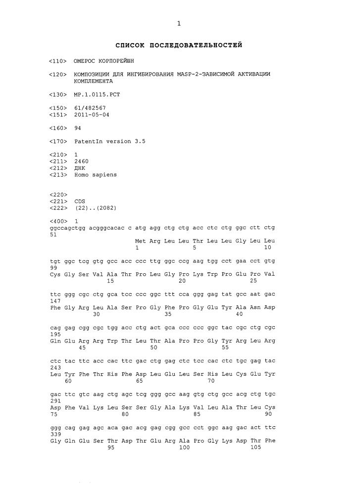 Композиции для ингибирования masp-2-зависимой активации комплемента