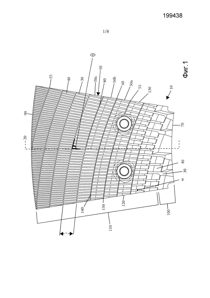Пластина рафинера с постепенно изменяющейся геометрией