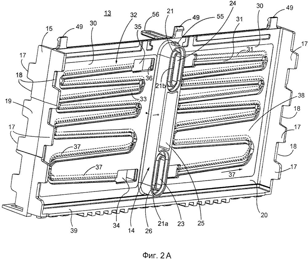 Модуль аккумуляторной батареи с корпусом модуля аккумуляторной батареи и элементами аккумуляторной батареи