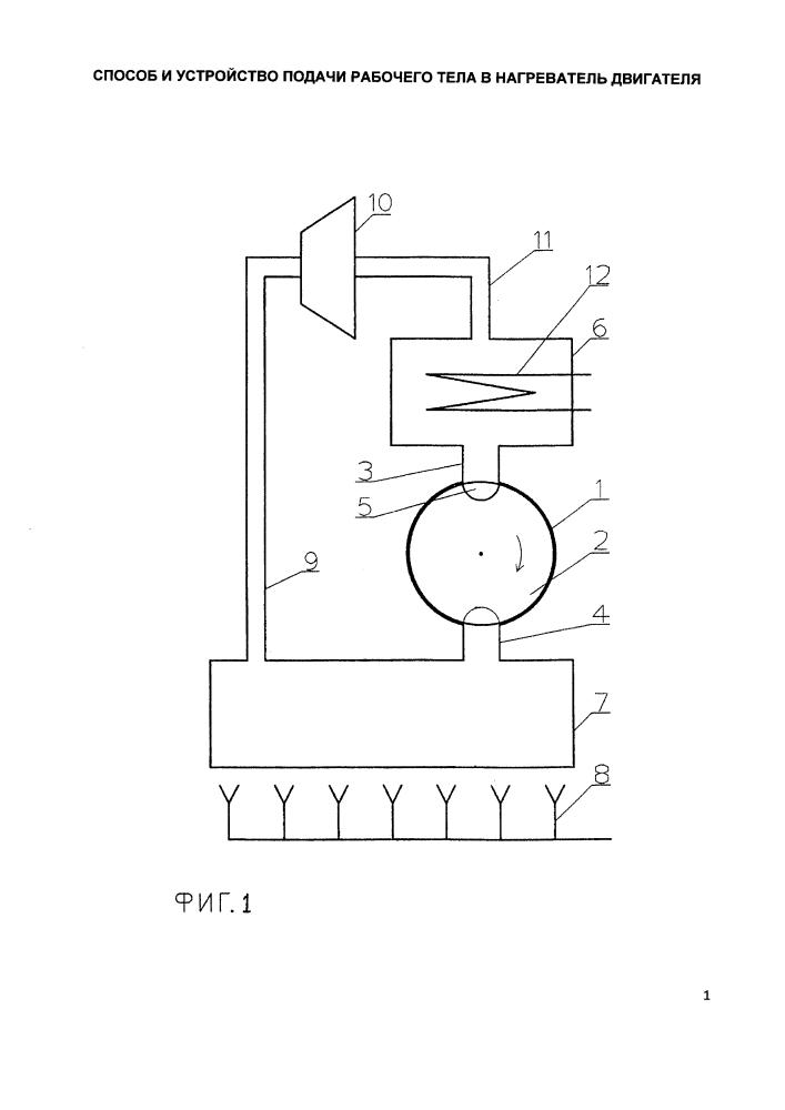 Способ и устройство подачи рабочего тела в нагреватель двигателя