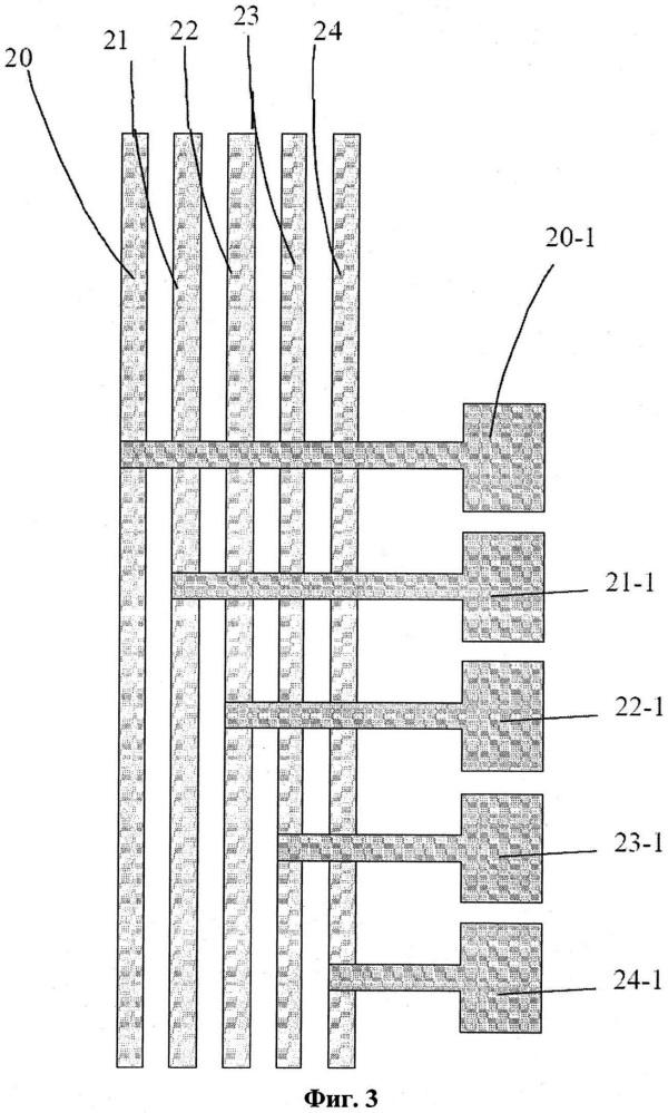 Структура металлических дорожек подложки матрицы