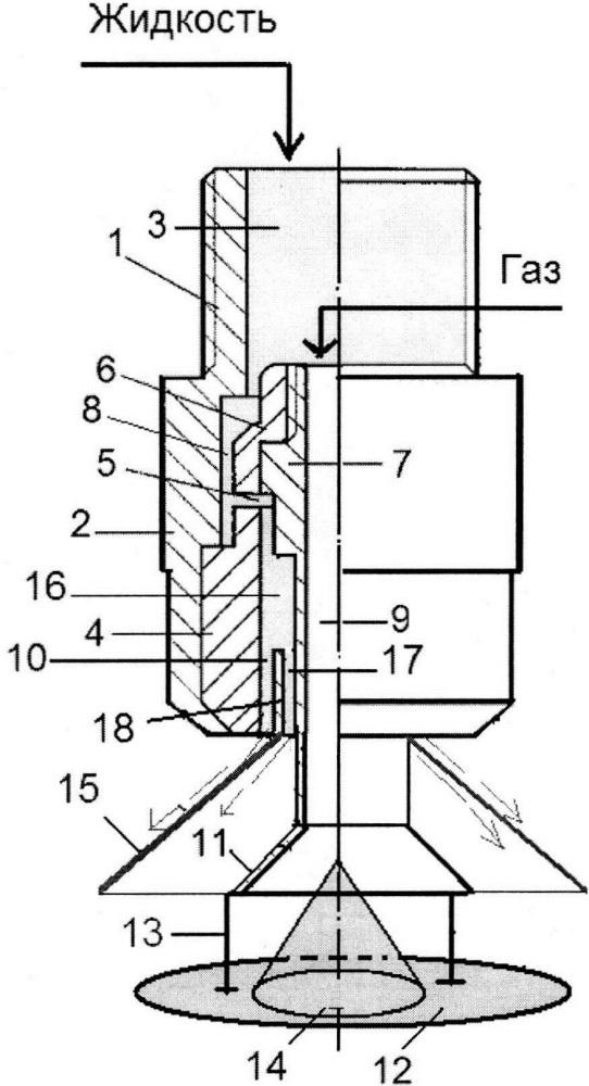 Пневматическая форсунка кочетова с двухфазным потоком распыляемой жидкости