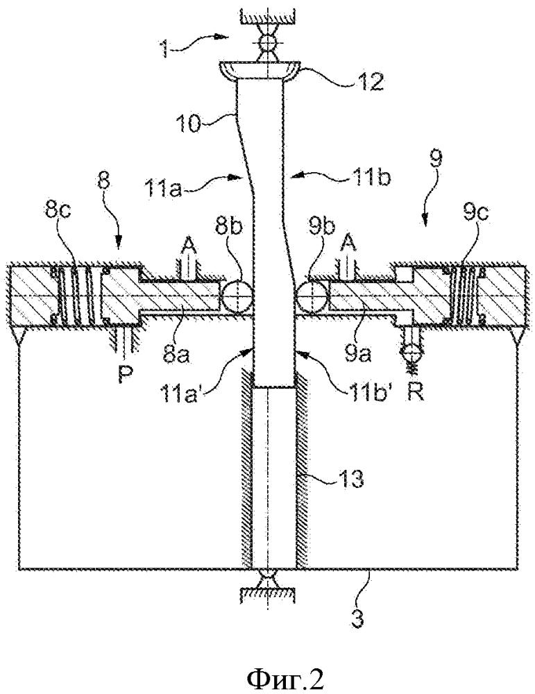 Устройство пневматической подвески с интегрированным клапаном управления и штокообразным средством приведения в действие