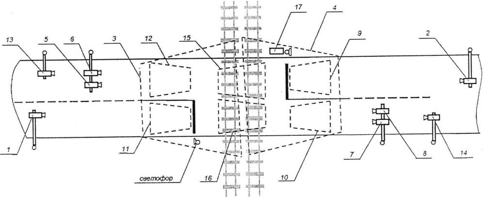 Способ контроля дорожного движения при проезде через регулируемый железнодорожный переезд