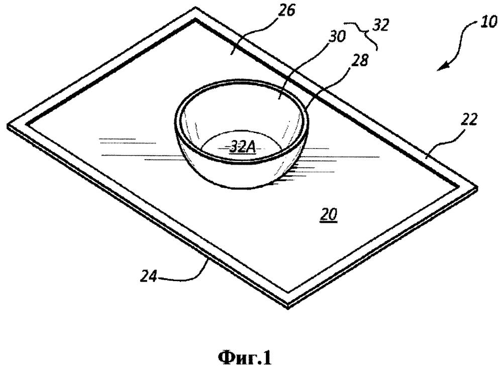 Комплект столовой посуды и салфетки, самоприклеивающейся за счет поверхностного контакта